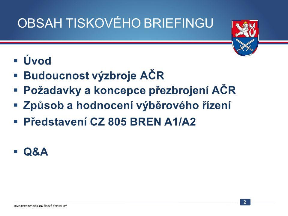 MINISTERSTVO OBRANY ČESKÉ REPUBLIKY Budoucnost výzbroje AČR  Důležitý milník ve výzbroji AČR  Zbraně 21.