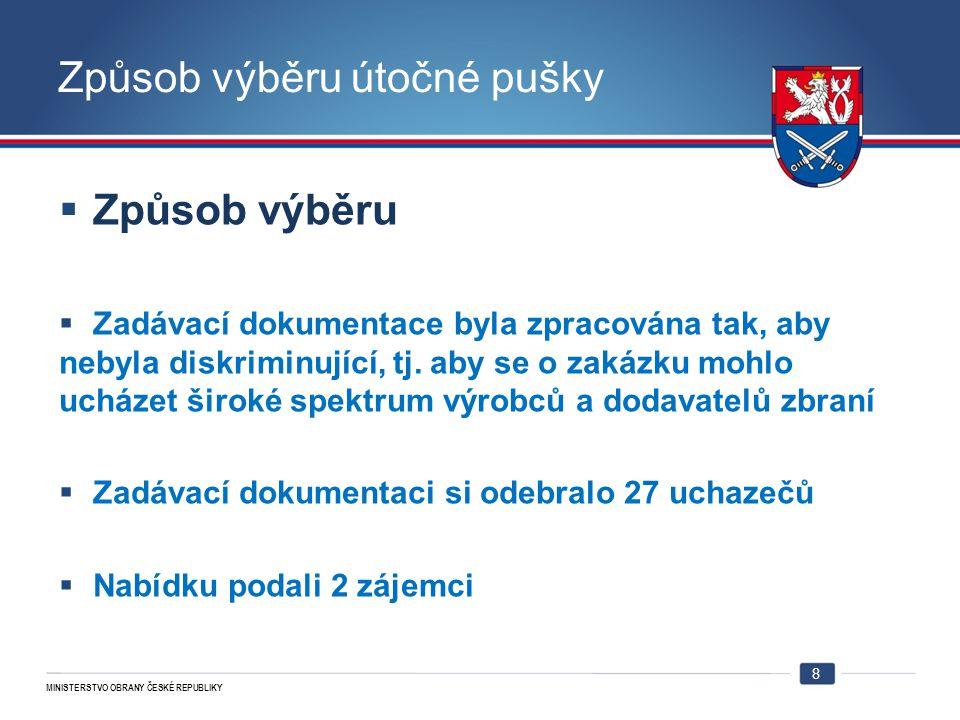 MINISTERSTVO OBRANY ČESKÉ REPUBLIKY Způsob výběru útočné pušky  Způsob výběru  Zadávací dokumentace byla zpracována tak, aby nebyla diskriminující,
