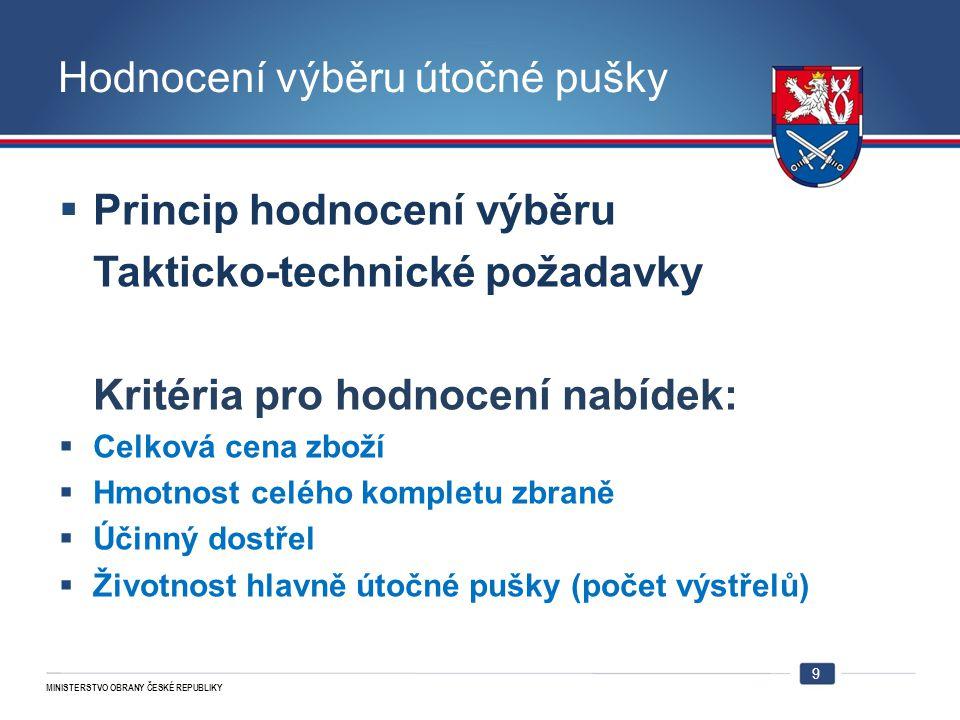 MINISTERSTVO OBRANY ČESKÉ REPUBLIKY Hodnocení výběru útočné pušky  Princip hodnocení výběru Takticko-technické požadavky Kritéria pro hodnocení nabíd
