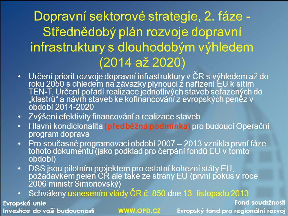Fond soudržnosti Evropský fond pro regionální rozvoj Evropská unie Investice do vaší budoucnosti WWW.OPD.CZ Dopravní sektorové strategie, 2. fáze - St