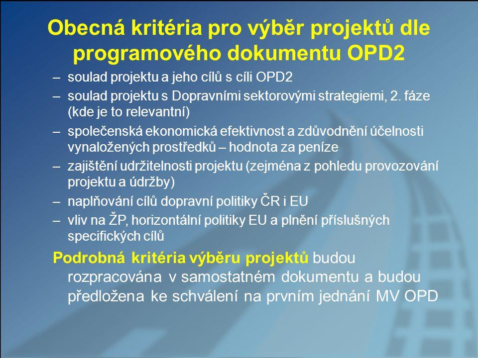 Obecná kritéria pro výběr projektů dle programového dokumentu OPD2 –soulad projektu a jeho cílů s cíli OPD2 –soulad projektu s Dopravními sektorovými