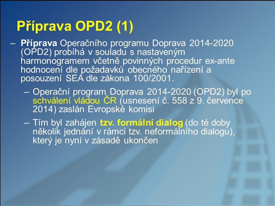 Příprava OPD2 (2) –Připomínky Evropské komise v rámci formálního dialogu (zaslány v průběhu září 2014) – velké množství, v průběhu vyjednávání však byla pozornost zaměřena zejména na klíčová témata - jediné podstatnější změny: přesun městské silniční telematiky z PO1 do PO2 odklad a podmínění způsobilosti investic do infrastruktury vodních cest –Poslední zásadní dořešenou (snad) spornou oblastí je vztah podpory projektů ke zpracování PUMM –Schválení OPD vázáno na změnu víceletého rozpočtového rámce EU – tj.