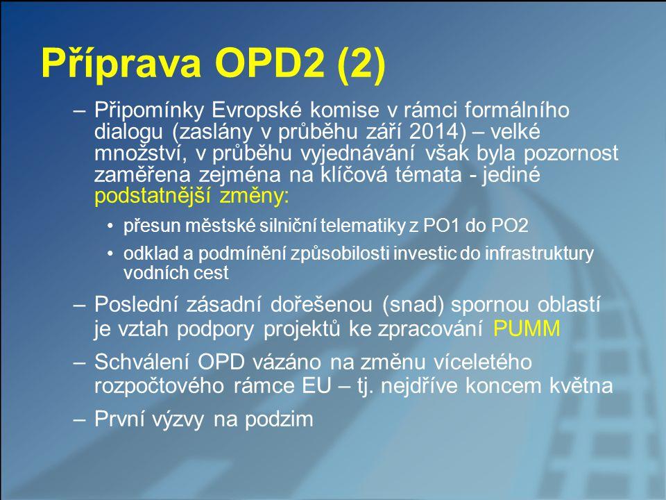 Příprava OPD2 (2) –Připomínky Evropské komise v rámci formálního dialogu (zaslány v průběhu září 2014) – velké množství, v průběhu vyjednávání však by
