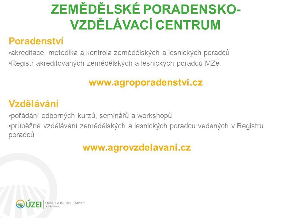ZEMĚDĚLSKÉ PORADENSKO- VZDĚLÁVACÍ CENTRUM Poradenství akreditace, metodika a kontrola zemědělských a lesnických poradců Registr akreditovaných zemědělských a lesnických poradců MZe Vzdělávání pořádání odborných kurzů, seminářů a workshopů průběžné vzdělávání zemědělských a lesnických poradců vedených v Registru poradců www.agrovzdelavani.cz www.agroporadenstvi.cz