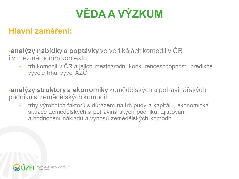 Hlavní zaměření:  analýzy nabídky a poptávky ve vertikálách komodit v ČR i v mezinárodním kontextu  trh komodit v ČR a jejich mezinárodní konkurenceschopnost, predikce vývoje trhu, vývoj AZO  analýzy struktury a ekonomiky zemědělských a potravinářských podniků a zemědělských komodit  trhy výrobních faktorů s důrazem na trh půdy a kapitálu, ekonomická situace zemědělských a potravinářských podniků, zjišťování a hodnocení nákladů a výnosů zemědělských komodit VĚDA A VÝZKUM