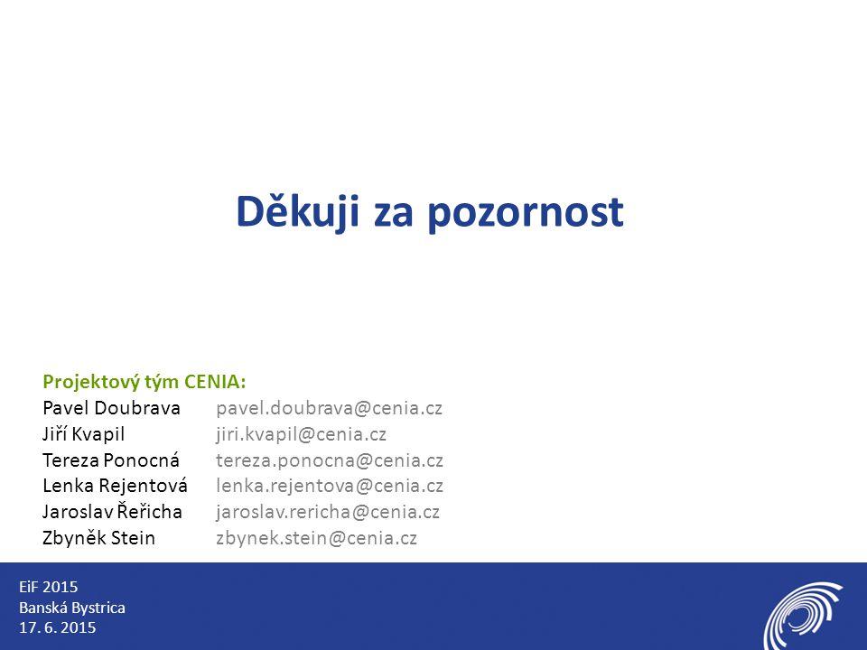 Děkuji za pozornost Projektový tým CENIA: Pavel Doubravapavel.doubrava@cenia.cz Jiří Kvapiljiri.kvapil@cenia.cz Tereza Ponocnátereza.ponocna@cenia.cz