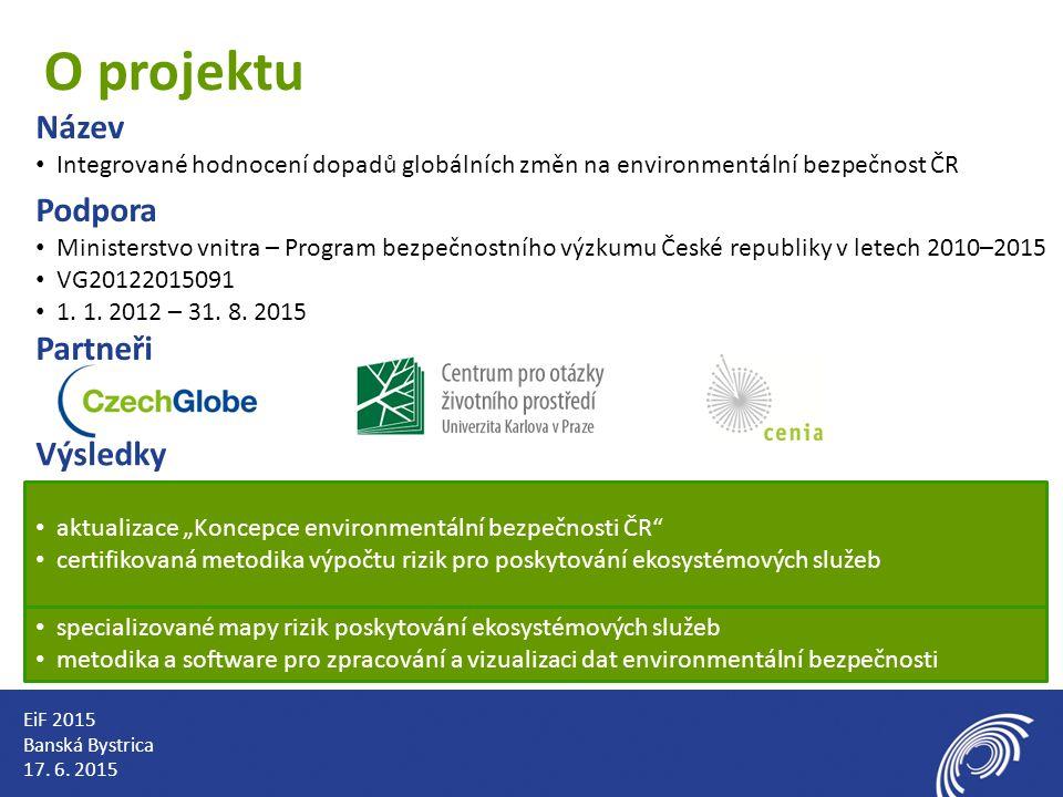 O projektu Název Integrované hodnocení dopadů globálních změn na environmentální bezpečnost ČR Podpora Ministerstvo vnitra – Program bezpečnostního výzkumu České republiky v letech 2010–2015 VG20122015091 1.