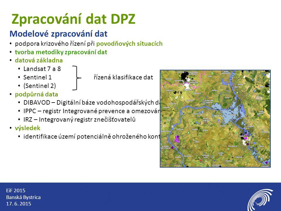 Zpracování dat DPZ Modelové zpracování dat podpora krizového řízení při povodňových situacích tvorba metodiky zpracování dat datová základna Landsat 7