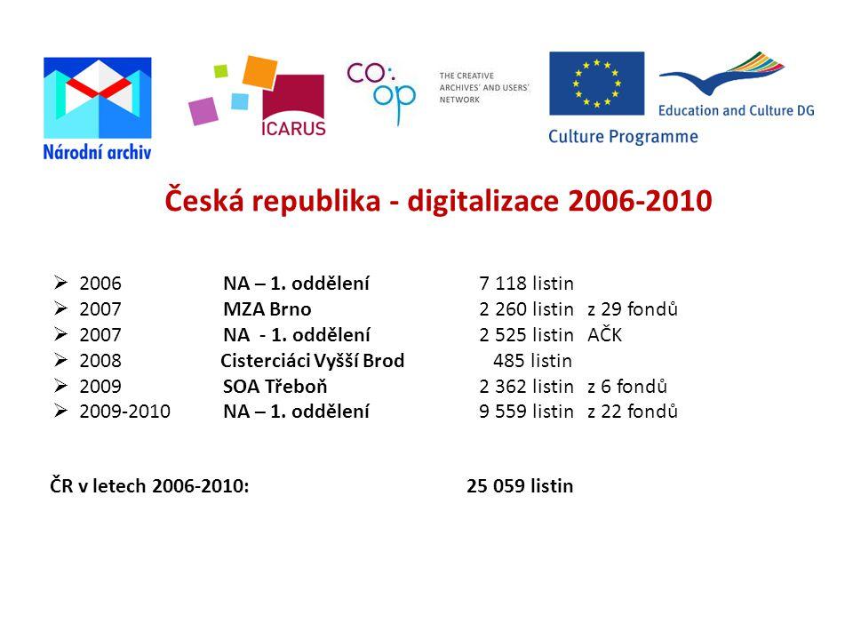 Česká republika - digitalizace 2006-2010  2006NA – 1.