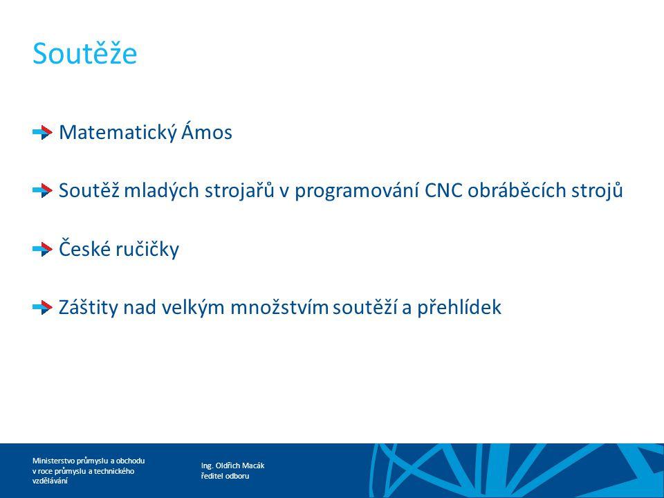 Ing. Oldřich Macák ředitel odboru Ministerstvo průmyslu a obchodu v roce průmyslu a technického vzdělávání Soutěže Matematický Ámos Soutěž mladých str