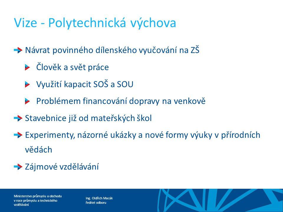 Ing. Oldřich Macák ředitel odboru Ministerstvo průmyslu a obchodu v roce průmyslu a technického vzdělávání Vize - Polytechnická výchova Návrat povinné