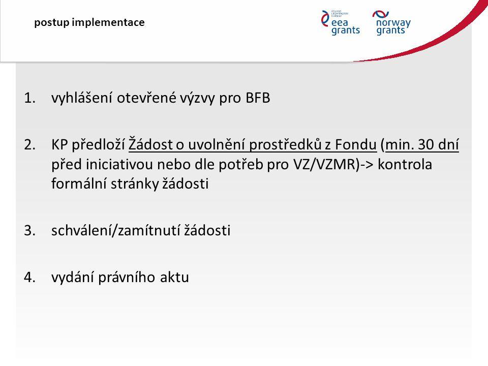 1.vyhlášení otevřené výzvy pro BFB 2.KP předloží Žádost o uvolnění prostředků z Fondu (min.