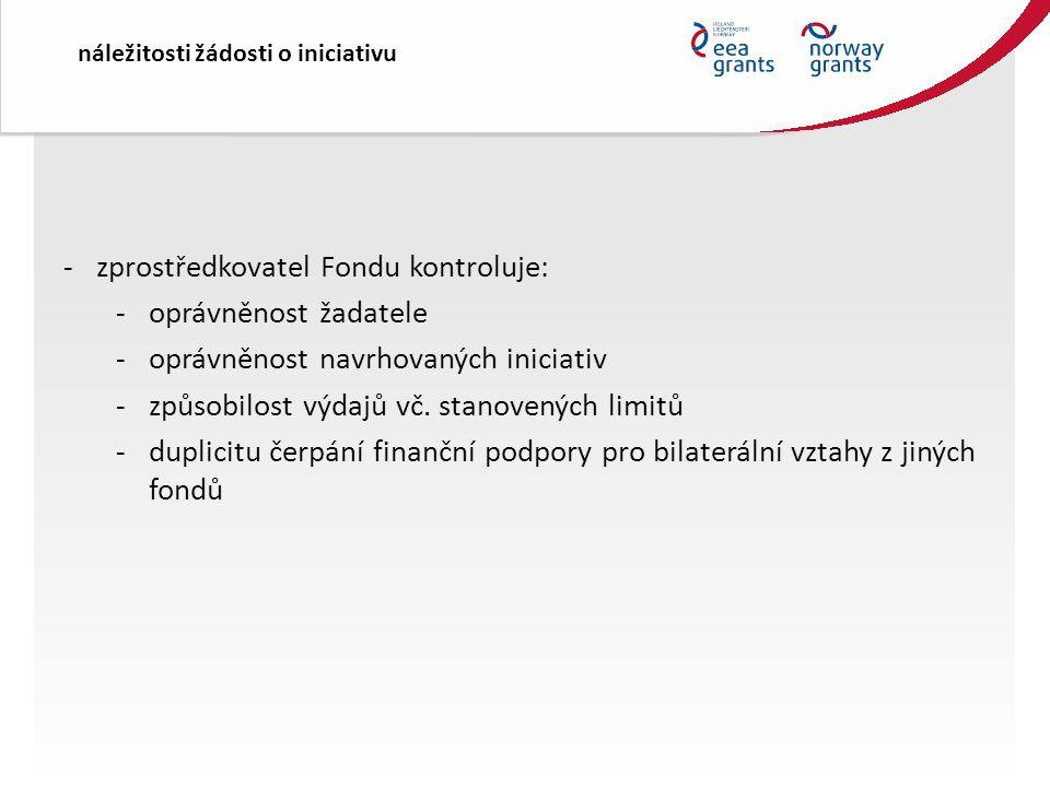 náležitosti žádosti o iniciativu -zprostředkovatel Fondu kontroluje: -oprávněnost žadatele -oprávněnost navrhovaných iniciativ -způsobilost výdajů vč.