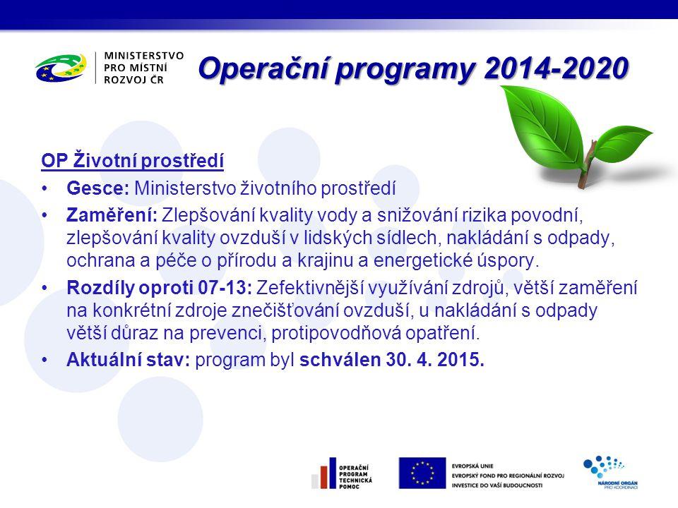 Operační programy 2014-2020 OP Životní prostředí Gesce: Ministerstvo životního prostředí Zaměření: Zlepšování kvality vody a snižování rizika povodní,