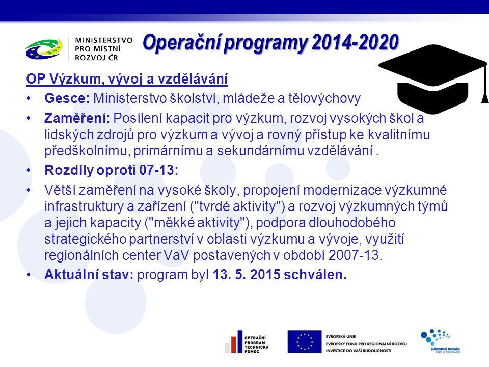 Operační programy 2014-2020 OP Výzkum, vývoj a vzdělávání Gesce: Ministerstvo školství, mládeže a tělovýchovy Zaměření: Posílení kapacit pro výzkum, r