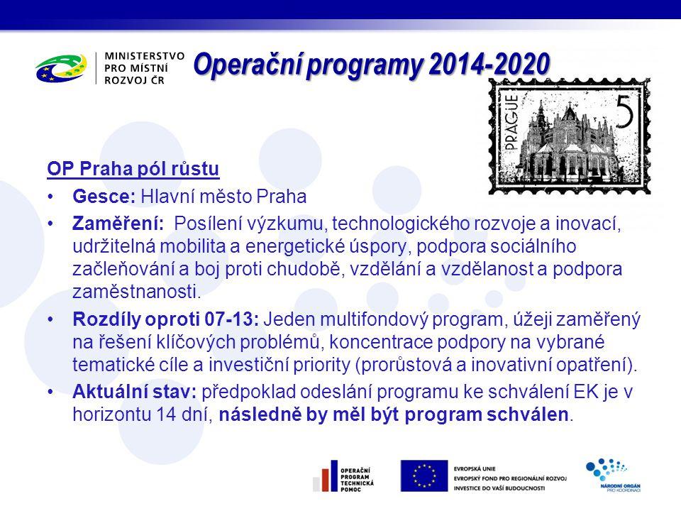 OP Praha pól růstu Gesce: Hlavní město Praha Zaměření: Posílení výzkumu, technologického rozvoje a inovací, udržitelná mobilita a energetické úspory,