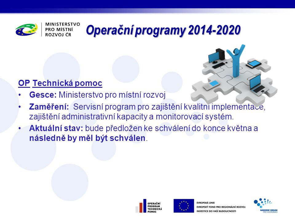 Operační programy 2014-2020 OP Technická pomoc Gesce: Ministerstvo pro místní rozvoj Zaměření: Servisní program pro zajištění kvalitní implementace, z