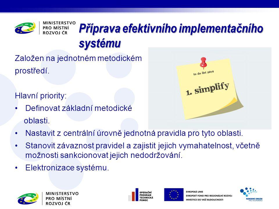 Založen na jednotném metodickém prostředí. Hlavní priority: Definovat základní metodické oblasti. Nastavit z centrální úrovně jednotná pravidla pro ty