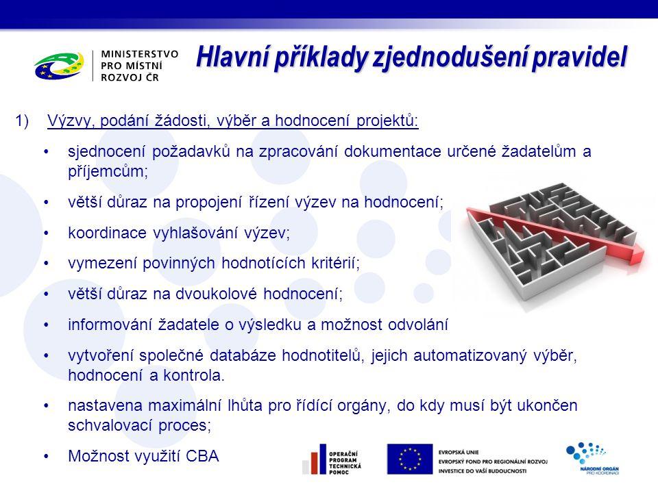 Hlavní příklady zjednodušení pravidel 1)Výzvy, podání žádosti, výběr a hodnocení projektů: sjednocení požadavků na zpracování dokumentace určené žadat