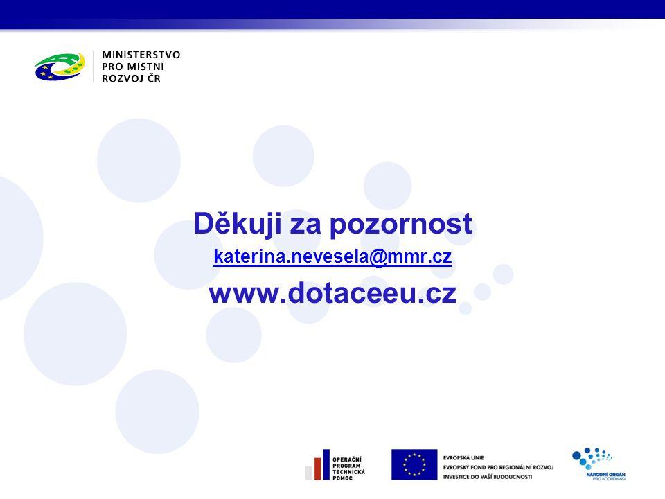 Děkuji za pozornost katerina.nevesela@mmr.cz www.dotaceeu.cz