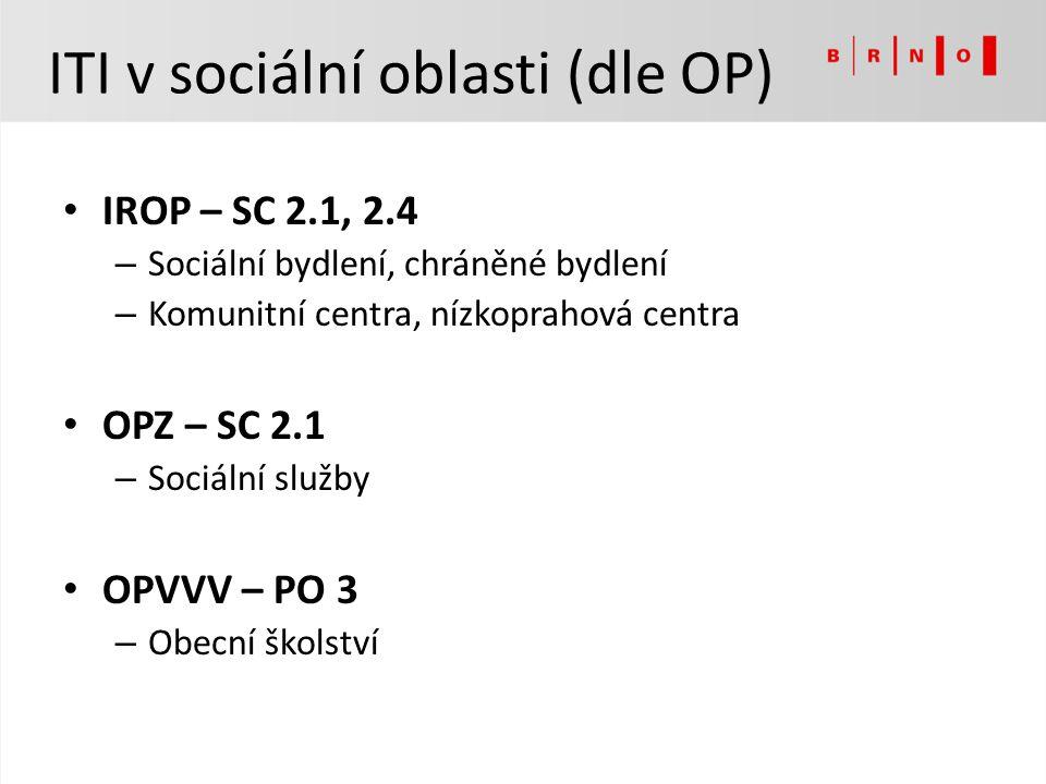 ITI v sociální oblasti (dle OP) IROP – SC 2.1, 2.4 – Sociální bydlení, chráněné bydlení – Komunitní centra, nízkoprahová centra OPZ – SC 2.1 – Sociáln