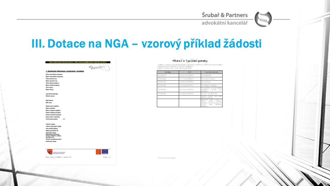 III. Dotace na NGA – vzorový příklad žádosti