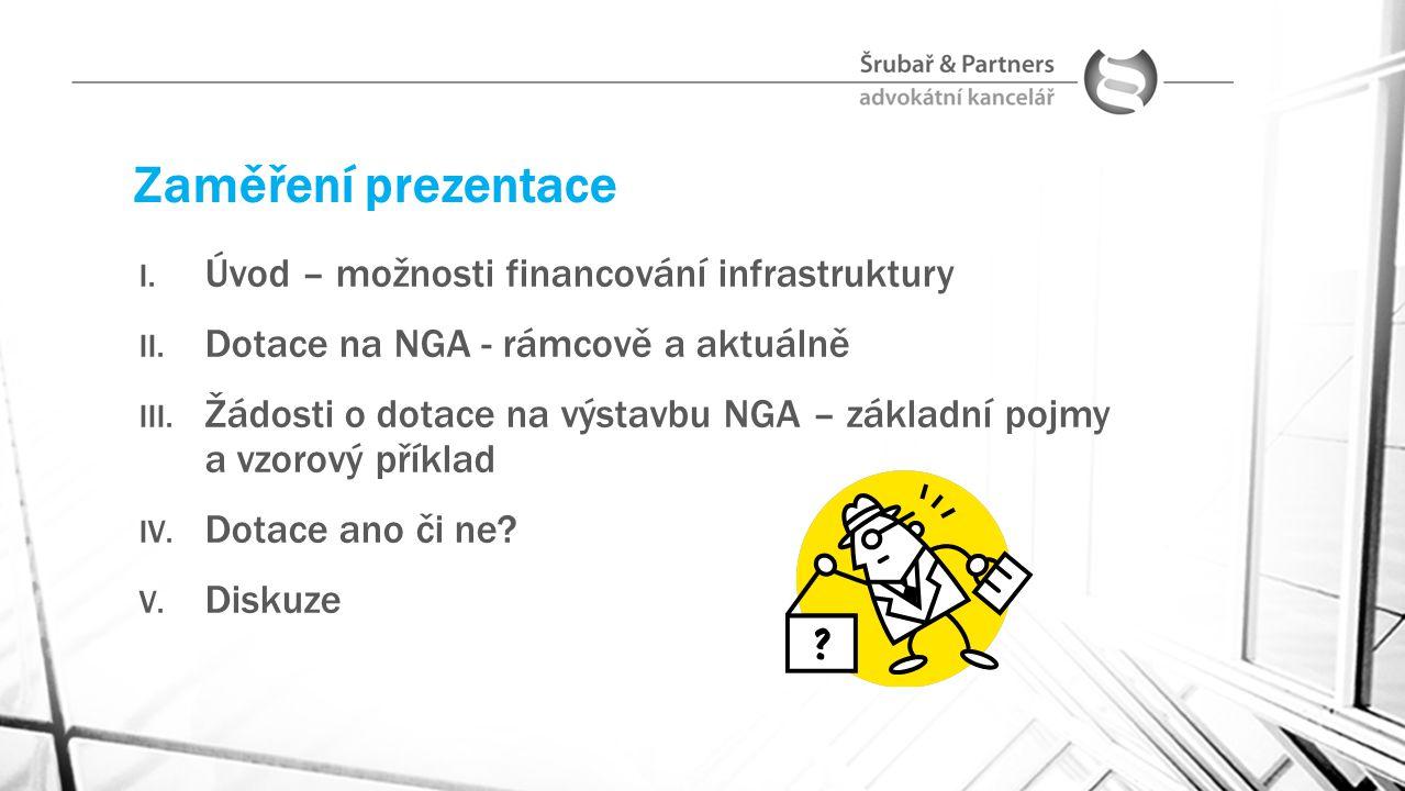 Zaměření prezentace I. Úvod – možnosti financování infrastruktury II. Dotace na NGA - rámcově a aktuálně III. Žádosti o dotace na výstavbu NGA – zákla
