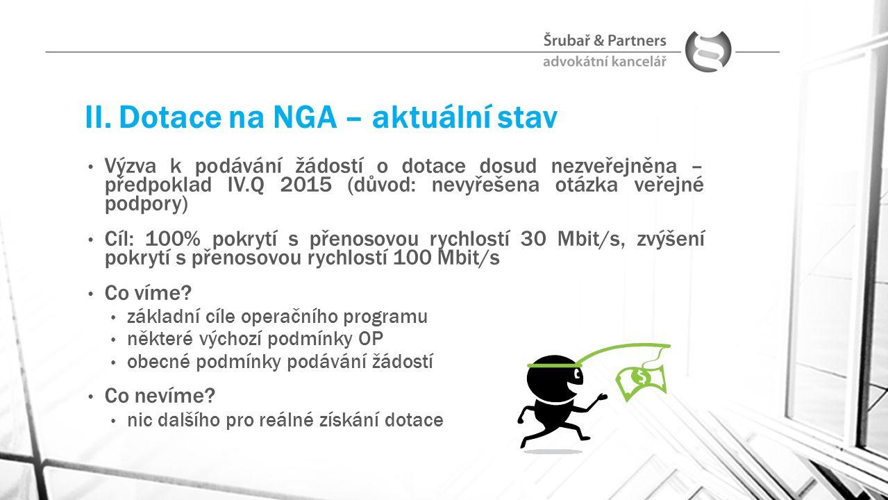 II. Dotace na NGA – aktuální stav Výzva k podávání žádostí o dotace dosud nezveřejněna – předpoklad IV.Q 2015 (důvod: nevyřešena otázka veřejné podpor