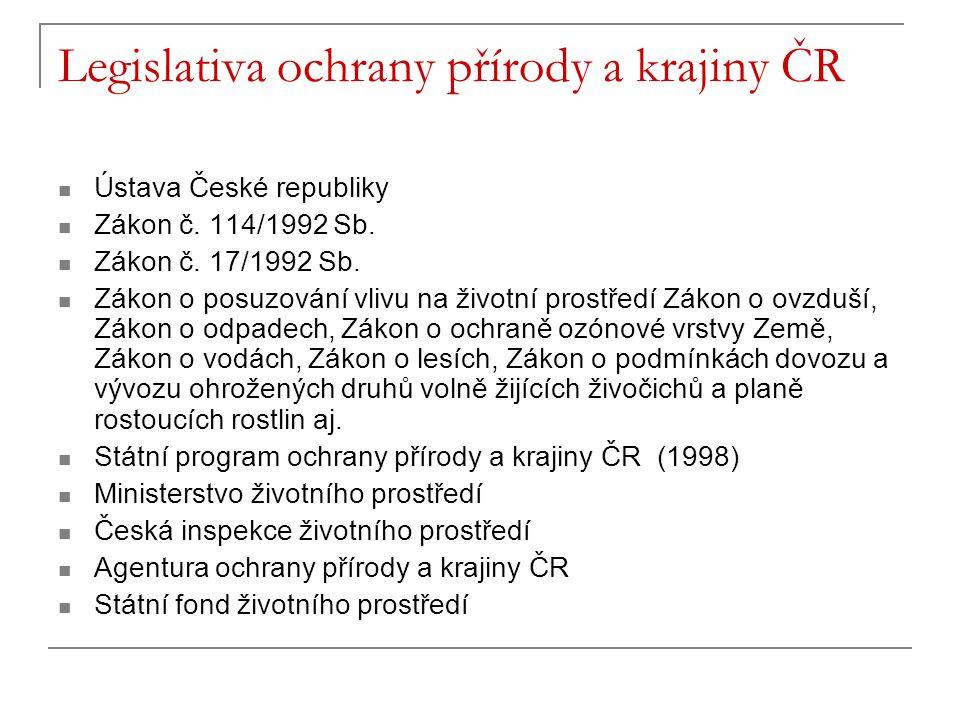Legislativa ochrany přírody a krajiny ČR Ústava České republiky Zákon č.