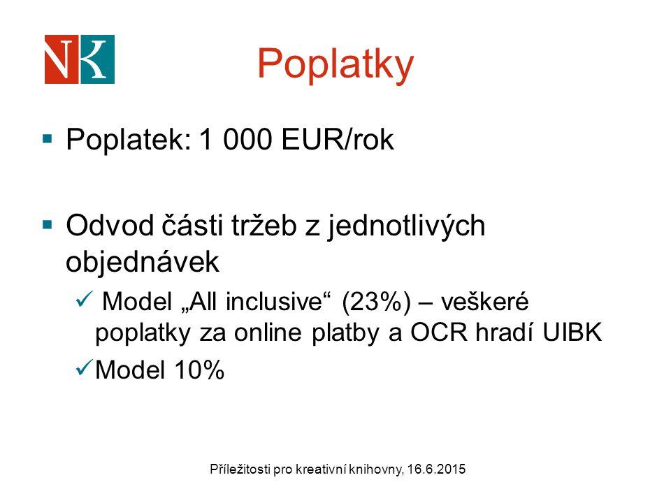 """Poplatky  Poplatek: 1 000 EUR/rok  Odvod části tržeb z jednotlivých objednávek Model """"All inclusive (23%) – veškeré poplatky za online platby a OCR hradí UIBK Model 10% Příležitosti pro kreativní knihovny, 16.6.2015"""