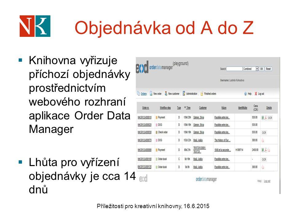 Objednávka od A do Z  Knihovna vyřizuje příchozí objednávky prostřednictvím webového rozhraní aplikace Order Data Manager  Lhůta pro vyřízení objednávky je cca 14 dnů Příležitosti pro kreativní knihovny, 16.6.2015