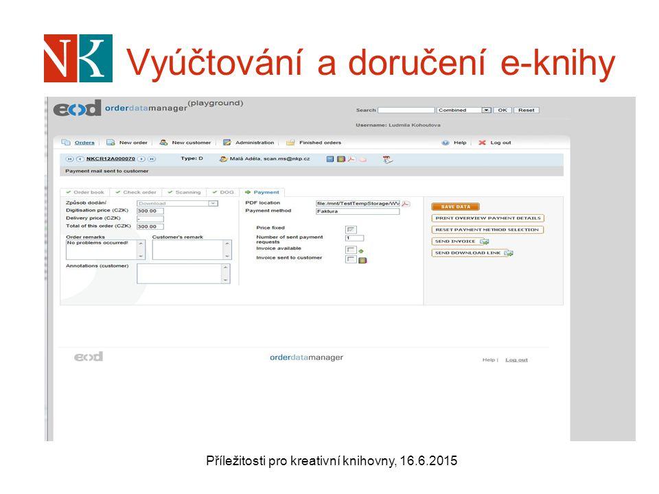 Vyúčtování a doručení e-knihy Příležitosti pro kreativní knihovny, 16.6.2015