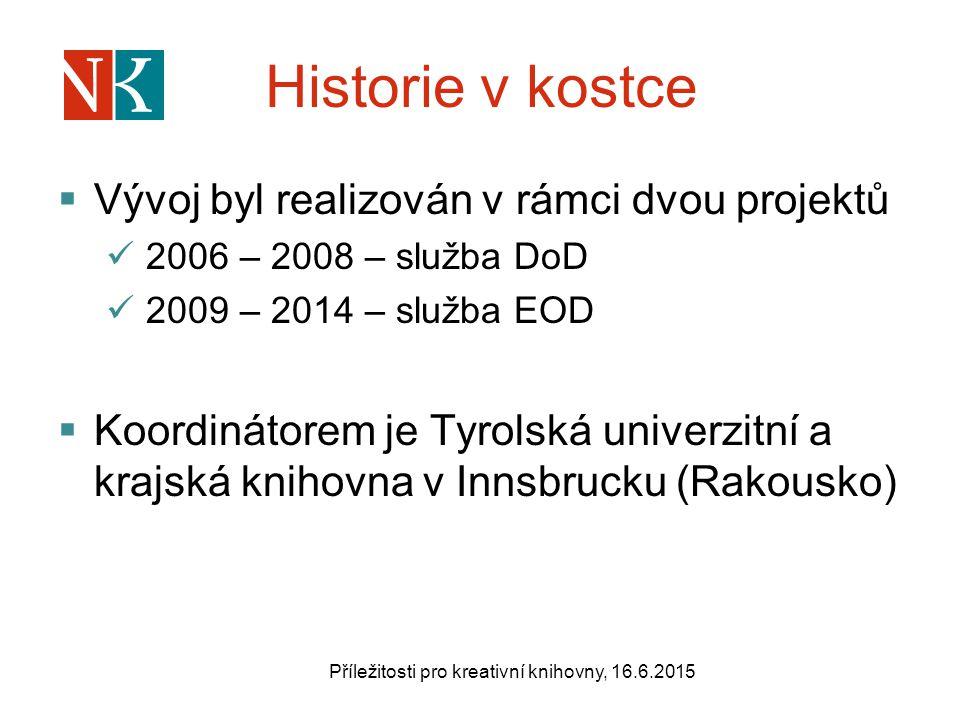 Historie v kostce  Vývoj byl realizován v rámci dvou projektů 2006 – 2008 – služba DoD 2009 – 2014 – služba EOD  Koordinátorem je Tyrolská univerzitní a krajská knihovna v Innsbrucku (Rakousko) Příležitosti pro kreativní knihovny, 16.6.2015