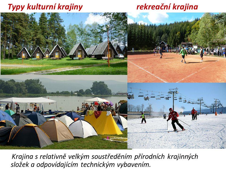 rekreační krajina Krajina s relativně velkým soustředěním přírodních krajinných složek a odpovídajícím technickým vybavením. Typy kulturní krajiny