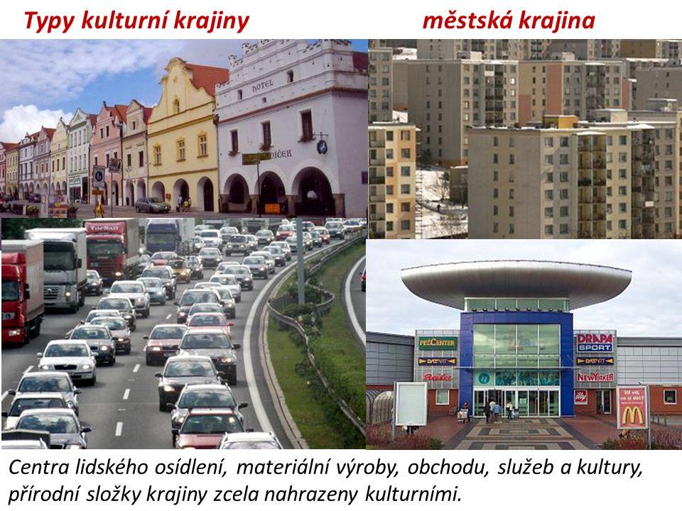 městská krajina Centra lidského osídlení, materiální výroby, obchodu, služeb a kultury, přírodní složky krajiny zcela nahrazeny kulturními. Typy kultu