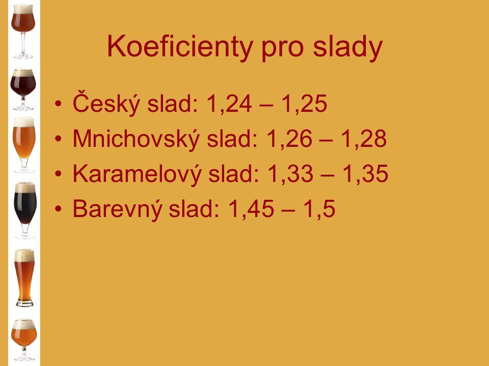 Koeficienty pro slady Český slad: 1,24 – 1,25 Mnichovský slad: 1,26 – 1,28 Karamelový slad: 1,33 – 1,35 Barevný slad: 1,45 – 1,5