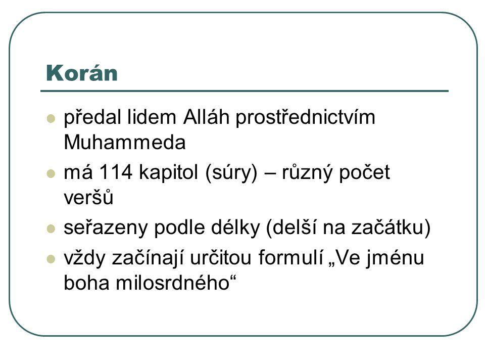 """Korán předal lidem Alláh prostřednictvím Muhammeda má 114 kapitol (súry) – různý počet veršů seřazeny podle délky (delší na začátku) vždy začínají určitou formulí """"Ve jménu boha milosrdného"""