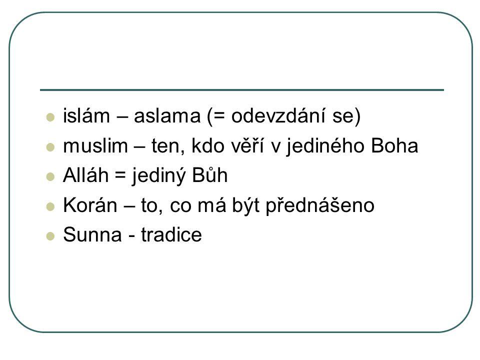 islám – aslama (= odevzdání se) muslim – ten, kdo věří v jediného Boha Alláh = jediný Bůh Korán – to, co má být přednášeno Sunna - tradice