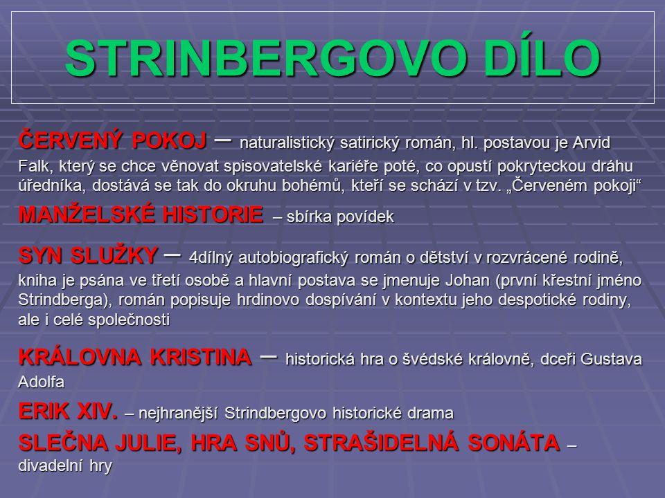 STRINBERGOVO DÍLO ČERVENÝ POKOJ – naturalistický satirický román, hl.