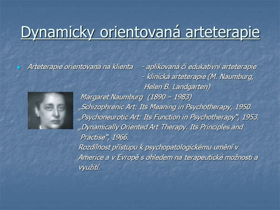 Dynamicky orientovaná arteterapie Arteterapie orientovaná na klienta - aplikovaná či edukativní arteterapie Arteterapie orientovaná na klienta - aplik