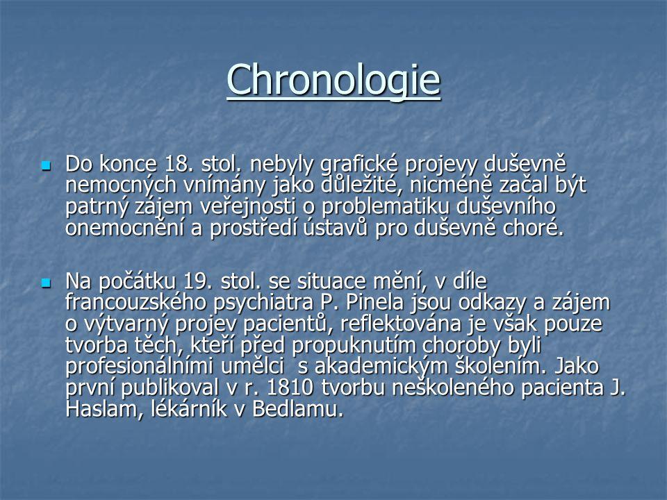 Chronologie Do konce 18. stol. nebyly grafické projevy duševně nemocných vnímány jako důležité, nicméně začal být patrný zájem veřejnosti o problemati