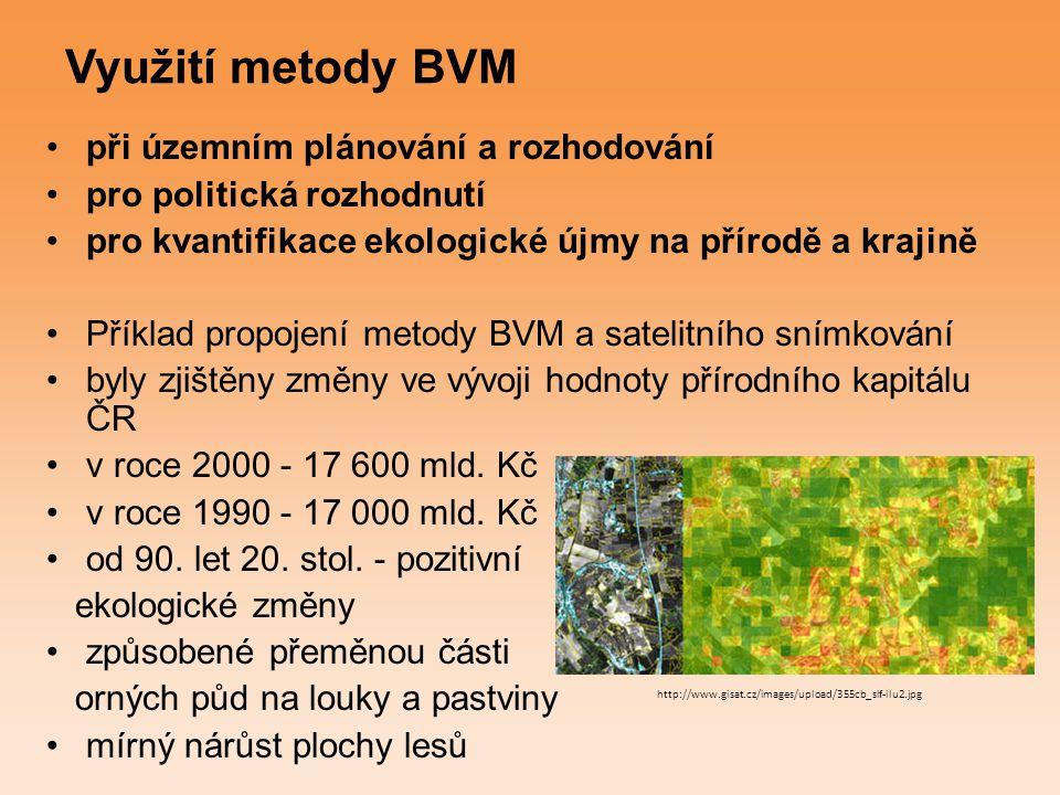 Využití metody BVM při územním plánování a rozhodování pro politická rozhodnutí pro kvantifikace ekologické újmy na přírodě a krajině Příklad propojen