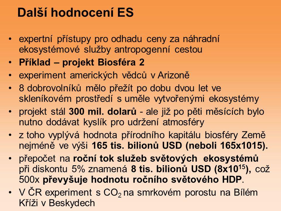 Další hodnocení ES expertní přístupy pro odhadu ceny za náhradní ekosystémové služby antropogenní cestou Příklad – projekt Biosféra 2 experiment ameri