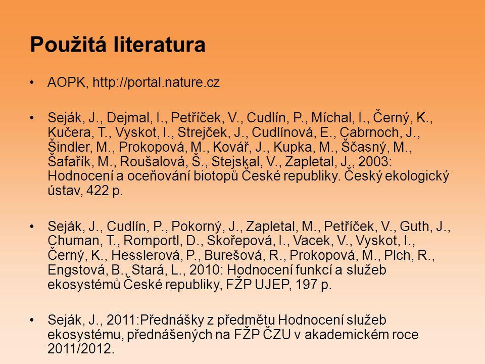Použitá literatura AOPK, http://portal.nature.cz Seják, J., Dejmal, I., Petříček, V., Cudlín, P., Míchal, I., Černý, K., Kučera, T., Vyskot, I., Strej