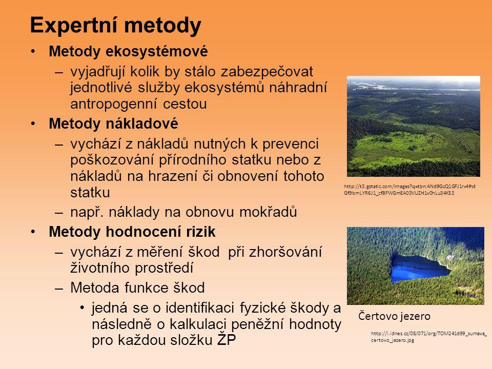 Metody hodnocení biotopů a ekosystémů celková peněžní hodnota služeb ekosystémů je nekonečná a nelze ji tedy peněžně ocenit je možné oceňovat její nositele, tedy biotopy (stanoviště) rozdělení území na typy biotopů každý typ biotopu je bodově ohodnocen podle několika ekologických charakteristik informace o relativní ekologické významnosti jednotlivých typů biotopů biotopy oceněny podle úrovně svých ekologických funkcí a nákladů nutných na obnovu těchto funkcí vzorem pro metodu pro ČR byl využit přístup pro oceňování ekologických funkcí uplatněný v Hesensku (spolková země Německa) http://botany.cz/foto/rybnicky1.jpg http://upload.wikimedia.org/wikipedia/commons/thumb/8/88/Tourbi%C3%A8re_03_-_Parc_de_Frontenac_- _Juillet_2008.jpg/350px-Tourbi%C3%A8re_03_-_Parc_de_Frontenac_-_Juillet_2008.jpg Mangrove