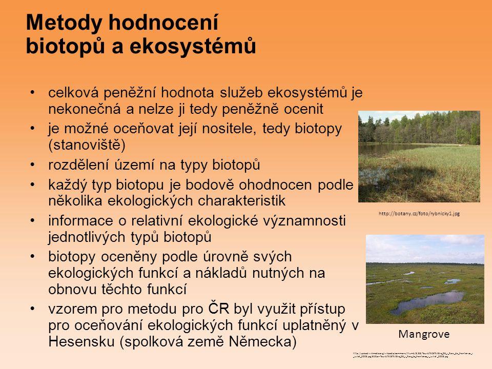 Metody hodnocení biotopů a ekosystémů celková peněžní hodnota služeb ekosystémů je nekonečná a nelze ji tedy peněžně ocenit je možné oceňovat její nos