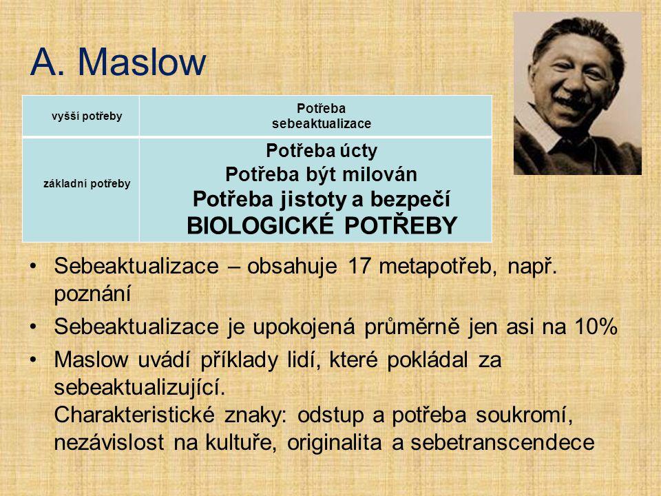 A. Maslow Sebeaktualizace – obsahuje 17 metapotřeb, např. poznání Sebeaktualizace je upokojená průměrně jen asi na 10% Maslow uvádí příklady lidí, kte