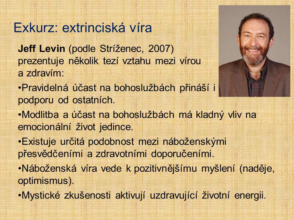 Exkurz: extrinciská víra Jeff Levin (podle Stríženec, 2007) prezentuje několik tezí vztahu mezi vírou a zdravím: Pravidelná účast na bohoslužbách přin