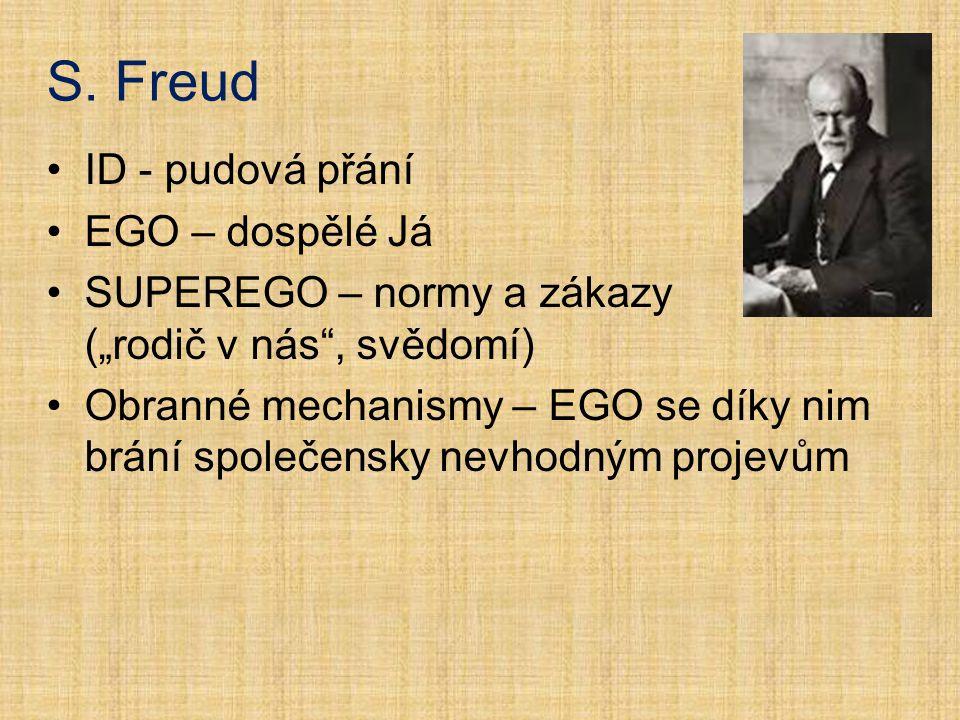 """S. Freud ID - pudová přání EGO – dospělé Já SUPEREGO – normy a zákazy (""""rodič v nás"""", svědomí) Obranné mechanismy – EGO se díky nim brání společensky"""