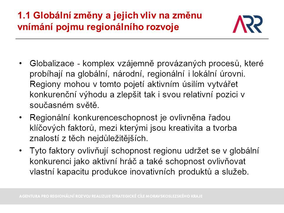 1.1 Globální změny a jejich vliv na změnu vnímání pojmu regionálního rozvoje Globalizace - komplex vzájemně provázaných procesů, které probíhají na gl